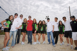 Joey Hand, Tom Sutherland, Tom Milner, Craig Stanton, Gunnar Jeannette and Raphael Matos pose with the lovely Patron girls