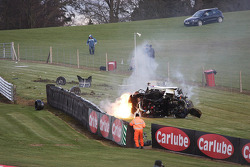 Massive crash for #55 Rob Austin Racing Ginetta: Hunter Abbott