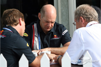 Team principal Christian Horner, chief technical officer Adrian Newey and motorsport consultant of Red Bull Helmut Marko