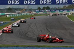 Felipe Massa, Scuderia Ferrari, F2008, leads Kimi Raikkonen, Scuderia Ferrari, F2008