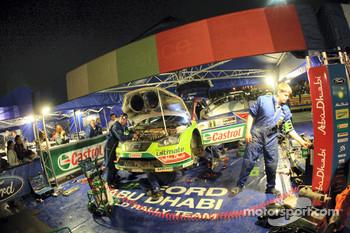 Mikko Hirvonen's Ford Focus RS WRC in service