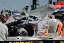Damaged car of Michael McDowell