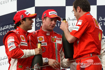 Podium: Felipe Massa, Kimi Raikkonen and Stefano Domenicali