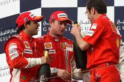 Podium: Felipe Massa, Kimi Raikkonen and Stefano Domenicali