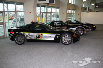 Corvette Pace Cars lined up on display at the Indianapolis 500 Media Tour