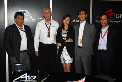 Tony Teixeira, A1GP Chairman, with David Clare, the new A1 Team Korea Seat Holder Joshua Kim and Harry Lee
