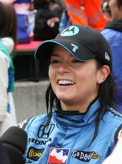 Race winner Danica Patrick gives interviews