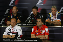FIA press conference: Adrian Newey, Red Bull Racing, Technical Operations Director, Sam Michael, WilliamsF1 Team, Technical director, Pat Symonds, Renault F1 Team, Executive Director of Engineering, Willy Rampf, BMW-Sauber, Technical Director and Aldo Cos