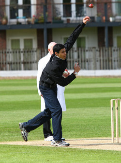 Adam Khan, driver of A1 Team Pakistan at the Kent County Cricket ground