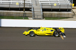 Al Unser makes his way around the famed Indianapolis Motor Speedway in his 1987 winner replica car