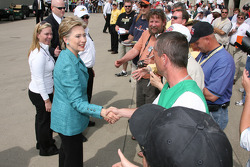 2008 Presidential Candidate Hillary Rodham Clinton talks with potential voters in the garage area