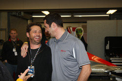 Jason Priestley with driver Max Papis