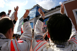 McLaren Mercedes mechanics celebrate at podium ceremony