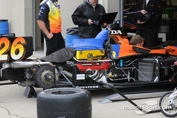 Marco Andretti's car being prepared for the day