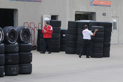 Tires being lined up for the day