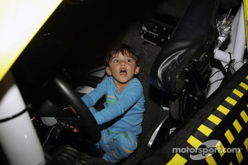 Juan Pablo Montoya's son plays in the race car