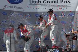 P1 podium champagne celebration