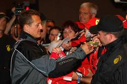Michael Schumacher, Test Driver, Scuderia Ferrari signing autographs
