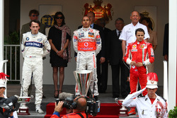 2nd place Robert Kubica,  BMW Sauber F1 Team with 1st place Lewis Hamilton, McLaren Mercedes and 3rd place Felipe Massa, Scuderia Ferrari