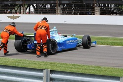 Sarah Fisher be pushed by the safety workers