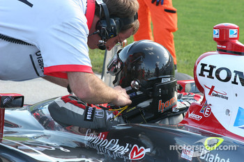 A.J. Foyt IV is unbuckled after qualifying