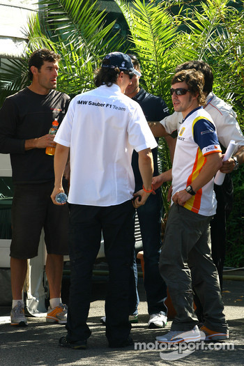 Fernando Alonso, Renault F1 Team, Robert Kubica, BMW Sauber F1 Team, David Coulthard, Red Bull Racing, Pedro de la Rosa, Test Driver, McLaren Mercedes, Mark Webber, Red Bull Racing have a meeting with Bernie Ecclestone