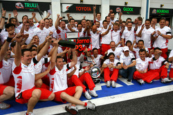 Jarno Trulli celebrates podium finish with Toyota F1 Team