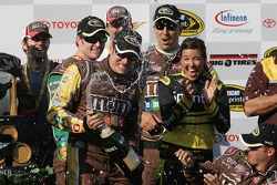 Victory lane: winner Kyle Busch celebrates