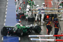 Rubens Barrichello, Honda Racing F1 Team, Jenson Button, Honda Racing F1 Team during pitstop