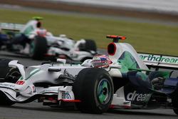 Jenson Button, Honda Racing F1 Team, RA108 leads Rubens Barrichello, Honda Racing F1 Team, RA108