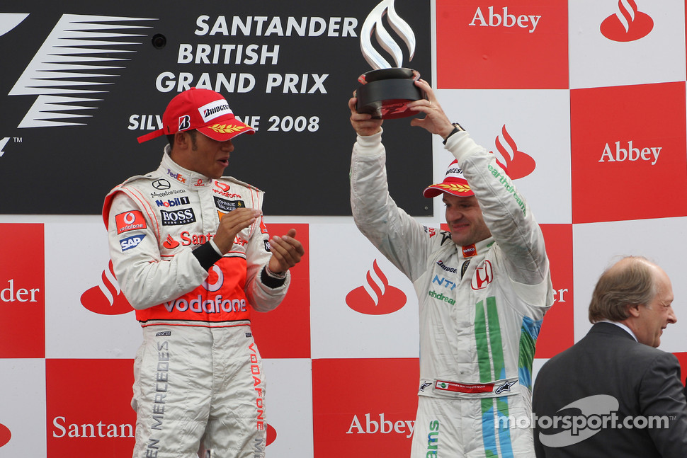 Podium: race winner Lewis Hamilton with third place Rubens Barrichello