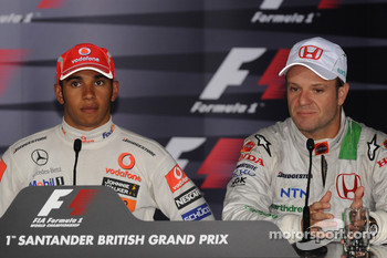 Press conference: race winner Lewis Hamilton with third place Rubens Barrichello