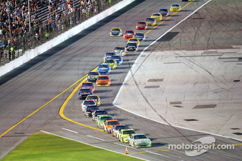 Dale Earnhardt Jr. leads the field on pit road