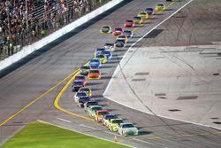 Dale Earnhardt Jr. leads the field on pit road