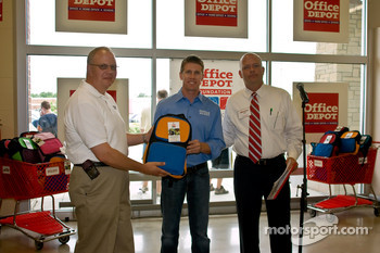 Carl Edwards visits an Office Depot store in Frankfurt, Illinois