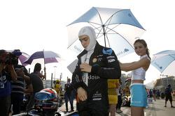 Matt Solomon, Double R Racing Dallara Mercedes-Benz with grid girl
