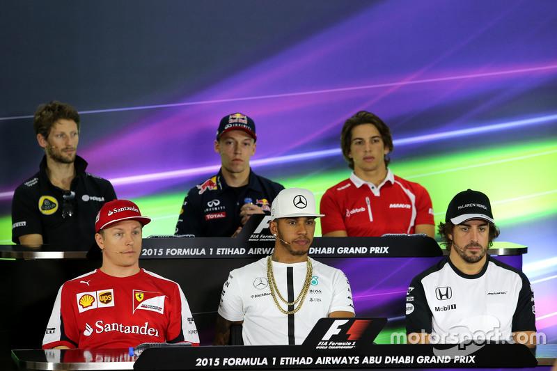 Kimi Raikkonen, Scuderia Ferrari, Lewis Hamilton, Mercedes AMG F1 Team, Fernando Alonso, McLaren Honda, Romain Grosjean, Lotus F1 Team, Daniil Kvyat, Red Bull Racing and Roberto Merhi, Manor F1 Team