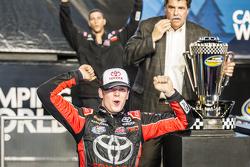 Championship victory lane: NASCAR Camping World Truck Series 2015 champion Erik Jones, Kyle Busch Motorsports celebrates