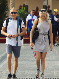 Valtteri Bottas, Williams with his girlfriend Emilia Pikkarainen