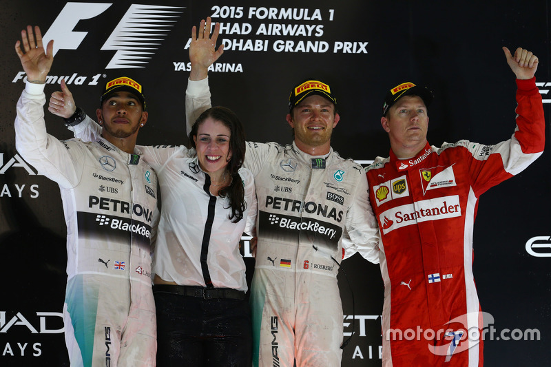 2015: 1. Nico Rosberg, 2. Lewis Hamilton, 3. Kimi Räikkönen