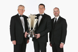 Joe Gibbs and 2015 NASCAR Sprint Cup Champion Kyle Busch and crew chief Adam Stevens