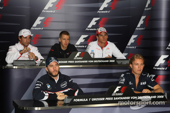 FIA press conference: Timo Glock, Toyota F1 Team, Sebastian Vettel, Scuderia Toro Rosso, Adrian Sutil, Force India F1 Team, Nick Heidfeld, BMW Sauber F1 Team and Nico Rosberg, WilliamsF1 Team