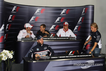 FIA press conference: Timo Glock, Toyota F1 Team, Sebastian Vettel, Scuderia Toro Rosso, Adrian Sutil, Force India F1 Team, Nick Heidfeld, BMW Sauber F1 Team and Nico Rosberg, WilliamsF1 Team arrives late