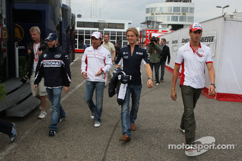 Nick Heidfeld, BMW Sauber F1 Team with Timo Glock, Toyota F1 Team, Nico Rosberg, WilliamsF1 Team and Adrian Sutil, Force India F1 Team