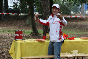 Timo Glock, Toyota F1 Team at a campsite