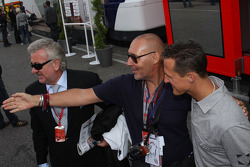 Willi Weber, Driver Manager, Michel Comte and Michael Schumacher, Test Driver, Scuderia Ferrari