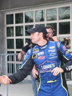 Pole winner Jimmie Johnson celebrates
