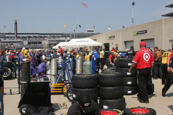 Crews scramble to prepare the Goodyear racing tires brought in for the Pocono race