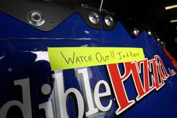 Message at the back of Jason Keller's car