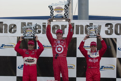 Victory lane: winner Scott Dixon, second place Helio Castroneves, third place Marco Andretti